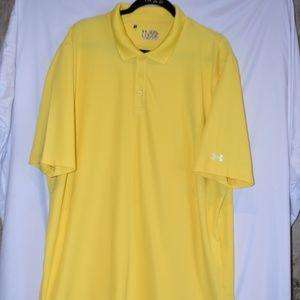 Mens Yellow Under Armor Polo Shirt XXL